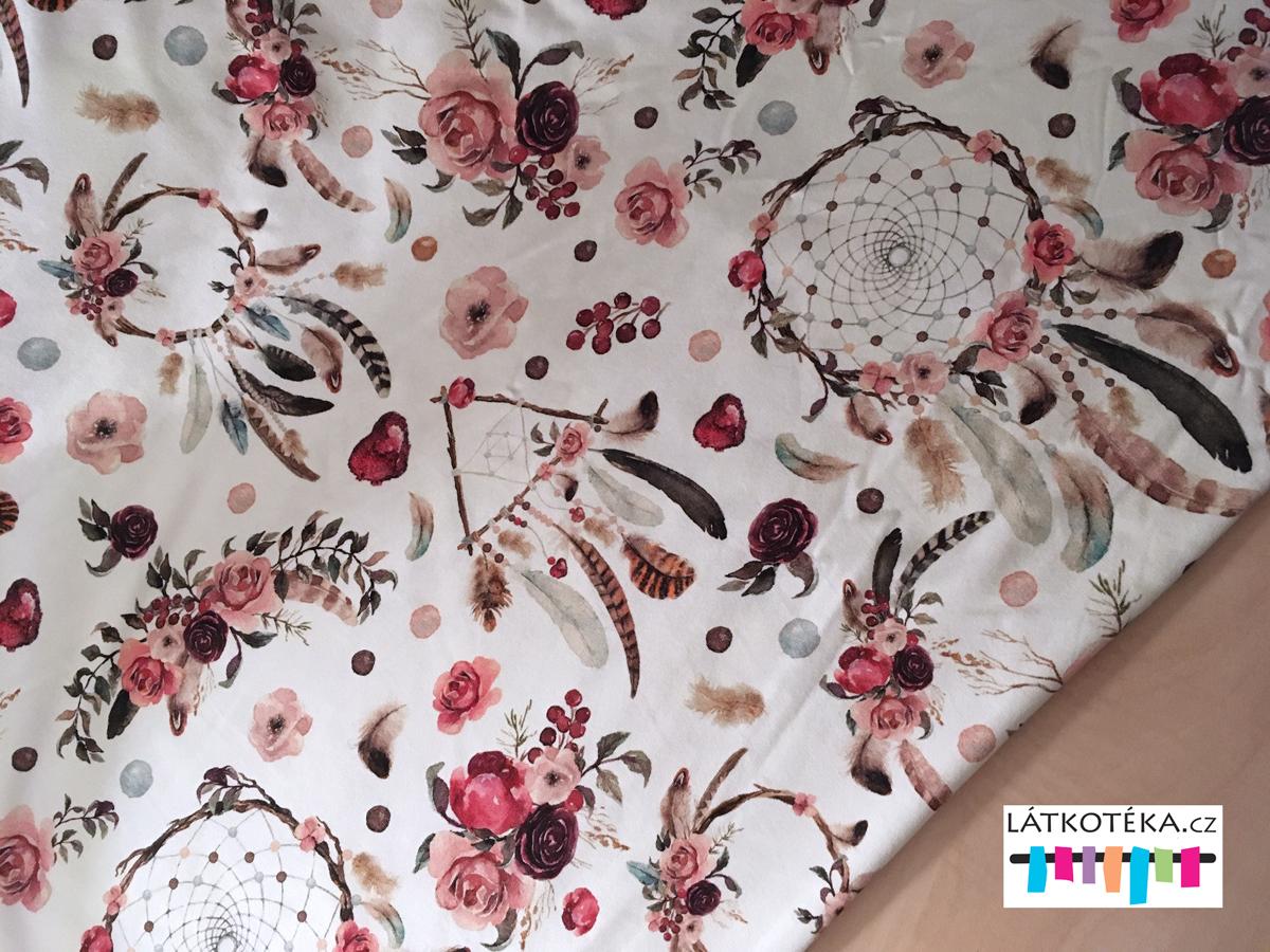 d4443bccdebf Teplákovina bavlněná Lapač snů s červenými květy