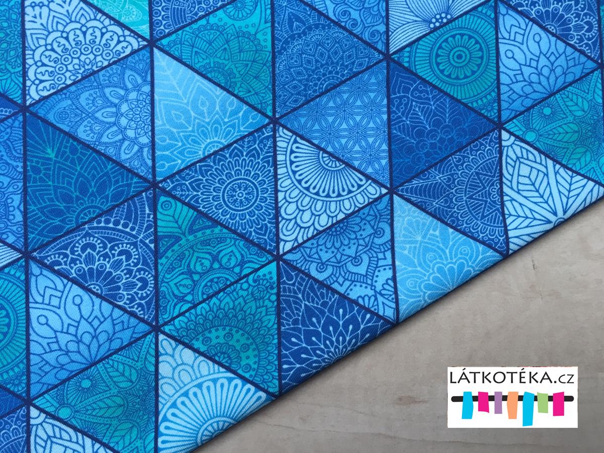 Úplet bavlněný Mandala trojúhelníky modré  9c4fc323ac4