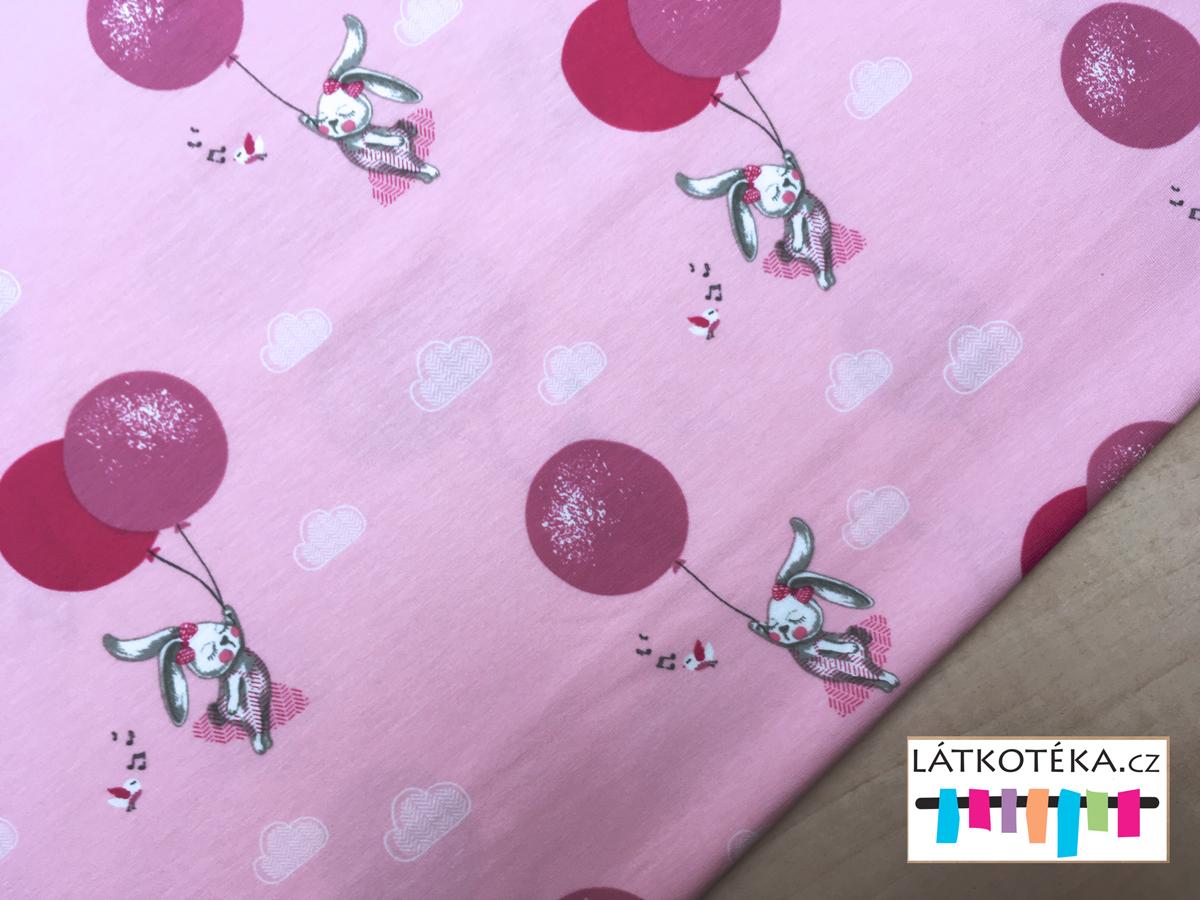 aa53dc419a93 Úplet bavlněný Králíček s balonkem na růžové empty